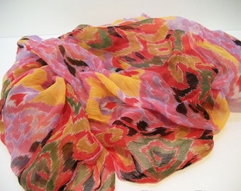 Vintage Echo Rayon Scarf/Material, 32 inches by 59 inches, Craft Material, accessories, Silky Sheer Scarf