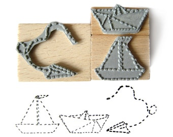 3 rubber stamps - PAPER TOYS