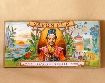 """Vintage Paris Soap Sign, Asian """"Royal Yedo"""", Pagoda, Ready to Hang, Handmade & Detailed"""