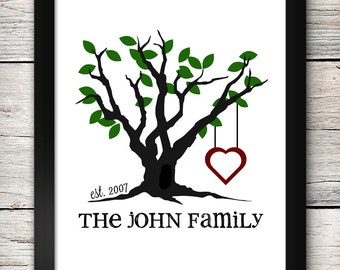 Family Tree Custom Name Print - 8x10