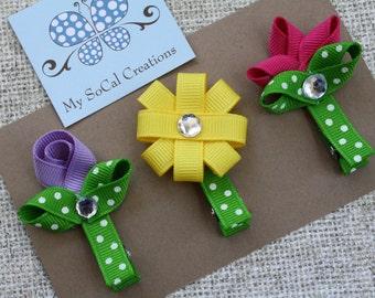 Spring Flower Ribbon Sculpture Hair Clip Set/Spring Flower Trio/Spring Garden/No Slip Hair Clips