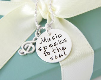 Music Note Necklace - Music Lover Necklace - Music lover Gift - Music Teacher Gift - Music Note Gift - Treble Cleft Charm - Music Quote -