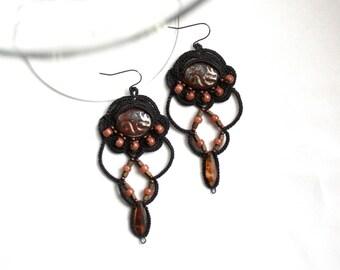 Charcoal Soft Orange Beaded Chandelier Dangle Tatting Lace Earrings