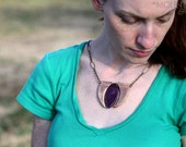 The Royal Iron – Purple and Iron Oxide, Handmade Ceramic Bead Necklace with Wire Work