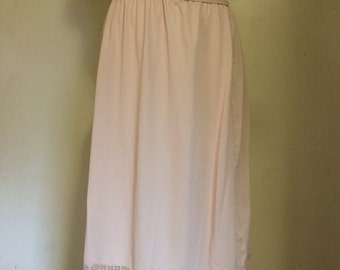 Tan Gossard Slip. Striped. Lace. Union Made. Large