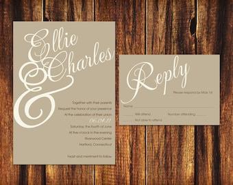 Printable Wedding Invitation and RSVP Card - Mocha and Crème.