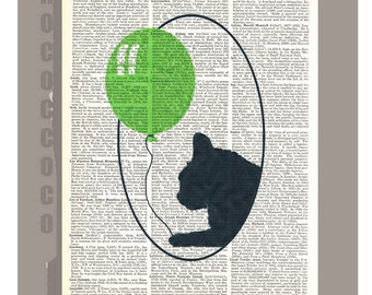 Cat with greenBallon  - ORIGINAL ARTWORK  printed on Repurposed Vintage Dictionary page -Upcycled Book Print