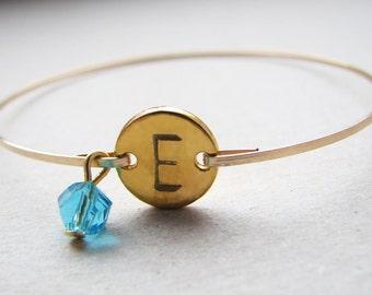 Aquamarine Birthstone Bangle, Gold Monogram Bangle, December Birthstone Bracelet, Birthstone Bangle, Initial December Gold Bangle