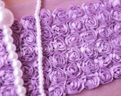 6 Row Purple Chiffon 3D Roses Lace Trim 4.3 Inches Wide 0.9 Yard