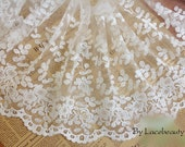 Cream White Cotton Tulle Lace Trim Flowers Embroidered Lace 10.23 Inches Wide 1 yard