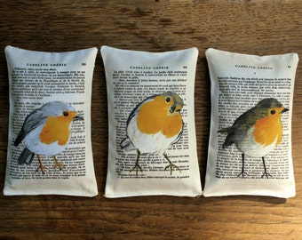 3 organic french Lavender Sachet, Bird portrait Painting - Mr Robin collection, Scented Sachets, Mini Decorative Pillows, Fragrant Sachet