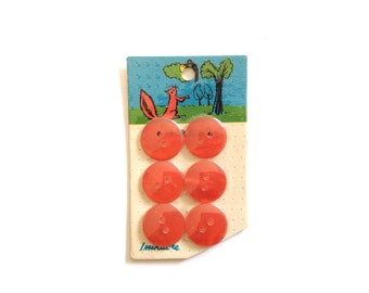 6 Red Buttons, Vintage Button, Illustrated Card, French, Kids