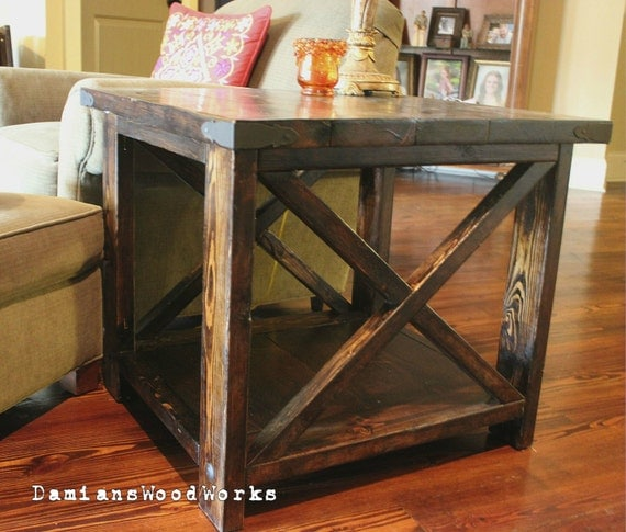 handcrafted farmhouse end table solid wood. Black Bedroom Furniture Sets. Home Design Ideas