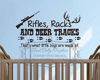 Rifles, racks and deer tracks vinyl wall decal