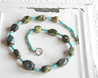 Turquoise Necklace, Vintage Necklace, Beaded Necklace, Polished Stone Necklace, Vintage Craft Supply, Vintage Stone Beads