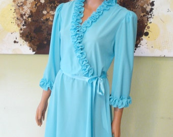 SALE 30% OFF - Frilly and Flingy Aqua Day Dress Size Large