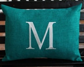 Monogrammed Outdoor Initial Pillow Cover in Teal