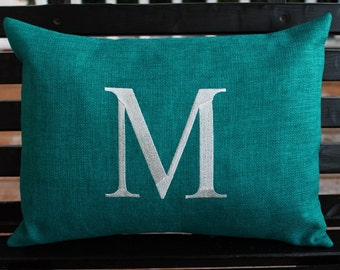 Monogrammed Outdoor Initial Pillow Cover in Teal | Personalized | Alphabet | Embroidered | Wedding