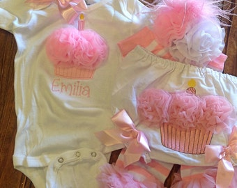 Cake Smash Bloomer Set - Bloomers, Creeper, Leg Warmers and Bow - 1st Birthday Pictures