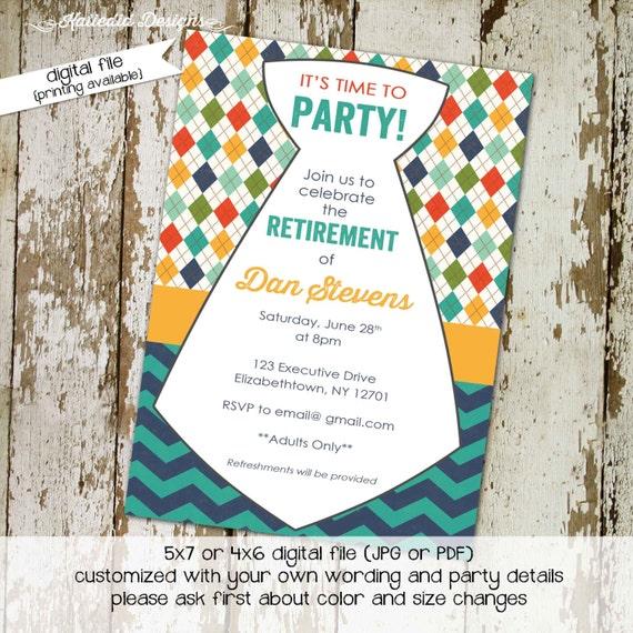 retirement party invitation birthday christening baby boy shower baby blessing invitation necktie argyle (item276) shabby chic invitations