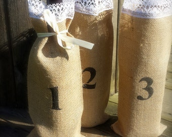 10 Burlap and lace bottle bags, wine bag, alternative table numbers