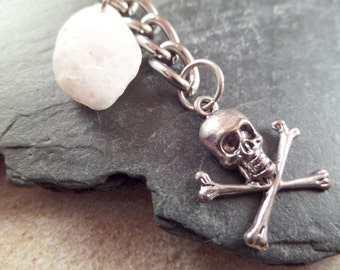 Skull and Crossbones Pirate Keychain with White Scottish Sea Pebble Beach Stone Men's Gift, for him, Scottish Souvenir, White and Silver