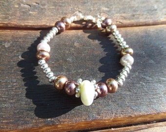 Scottish Iona Marble Beaded Bracelet with Red, Pink and Gold Glass Pearls Scotland Jewelry