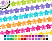 Digital Ribbon Clip Art - Flower Digital Ribbons 2 - Instant Download - Commercial Use