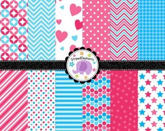 Pink and Blue Digital Paper Pack, Blue and Pink Digital Scrapbook Paper, Digital Backgrounds, Instant Download Commercial Use