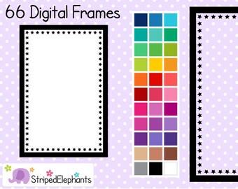 Star Rectangle Digital Frames 1 - Clip Art Frames - Instant Download - Commercial Use