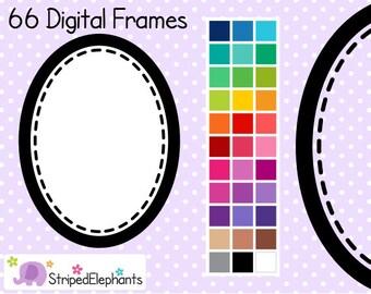Stitched Oval Digital Frames - Clip Art Frames - Instant Download - Commercial Use