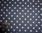 Ivory Stars on Navy Blue Fabric 2 yards BTY By the Yard