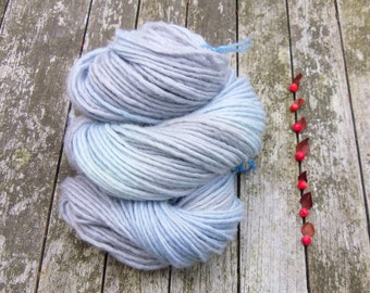 SALE British Bluefaced Leicester Yarn, aran roving yarn, hand dyed aran yarn, blue grey yarn, 100g,