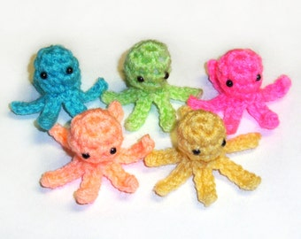 5 Tiny Crochet Squidlets - 2 inch Plush Squid Octopus Toys, Choose Your Colors - Made To Order