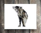 SALE : Wolf In Bark - Animal Silhouette Wall Art - Woodland Theme Lodge, Nursery, Home Decor