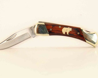 Schrade pocket knife with a custom Maple Bear inlay