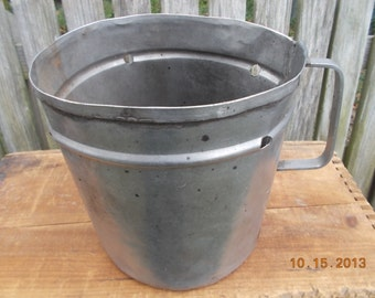 Antique Gallon Oyster Measuring Can- Stainless steel Can, with handle & drain holes, Collectible-
