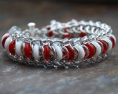 Candycane Caterpillar Chainmaille Bracelet