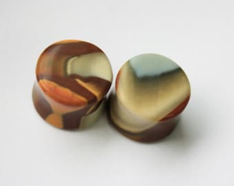 "9/16"" Polychrome Jasper Plugs"