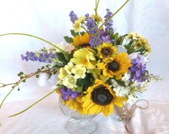 Sunflower wedding Country wedding Sunflower and lilac Bouquet set twine wrap country chic bouquet