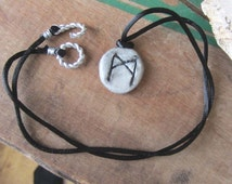 rune necklace MANNAZ runes pendant unisex symbol one of a kind wicca wiccan jewelry pagan magic amulet viking larp costume