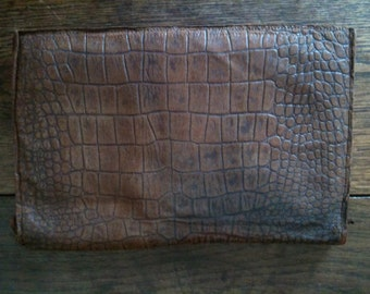 Vintage English Brown Leather Wallet circa 1950-60's / English Shop
