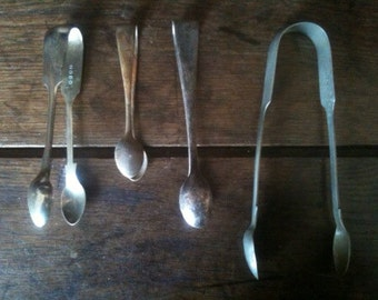 Vintage English EPNS Instant Collection Sugar Tongs Pickers Tong circa 1940-50's / English Shop