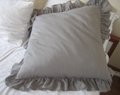 Grey Linen ruffle pillow SHAM Solid Ivory White butter cream beige gray 20x20 26x26 20x26 20x36 Queen king shabby chic decorative pillow