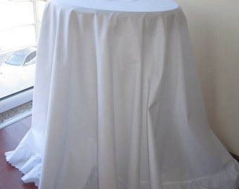"90"" large round Tablecloth white cotton white or ivory eyelet ruffled around shabby chic country cottage style wedding table cloth"