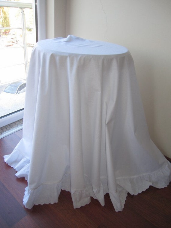 90 large round tablecloth white cotton white or ivory for White cotton table cloth