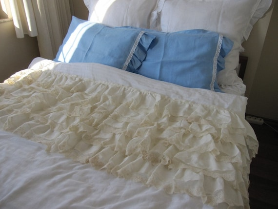 Ivory Shabby Chic Bedding: Ivory Linen Lace Waterfall
