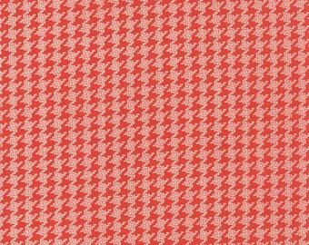 """End of Bolt 12"""" Somerset Houndstooth Check Poppy Red by Fig Tree Quilts for Moda"""