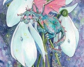Little Snowdrop Dragon- 5x7 or 4x6( 10 x 15cm )archival whimsical snowdrop spring dragon fantasy illustration