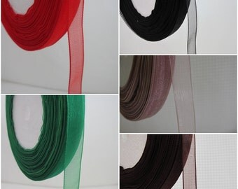 5 Yards Sheer Organza Ribbon 3/8 inch - choose your own colour - 07